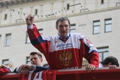 Alexander Mikhaylovich Ovechkin är en rysk yrkesmässig ishockey som lämnas yttern att klubba huvudstäder för NHL Washington Fotografering för Bildbyråer