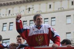 Alexander Mikhaylovich Ovechkin is een Russisch professioneel ijshockey verlaten de kapitalen van de vleugelspelerclub NHL Washin Royalty-vrije Stock Afbeelding