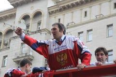 Alexander Mikhaylovich Ovechkin ist ein russisches Berufseishockey, das Hauptstädte Flügelspielerverein NHL Washington gelassen w lizenzfreie stockfotografie