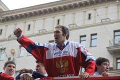 Alexander Mikhaylovich Ovechkin ist ein russisches Berufseishockey, das Hauptstädte Flügelspielerverein NHL Washington gelassen w lizenzfreie stockfotos