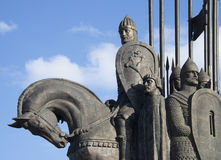 Alexander Nevsky ahead of the Russian army. A fragment of the memorial battle of the Ice Stock Photography