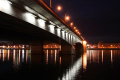 Alexander Nevsky Bridge at night royalty free stock photography
