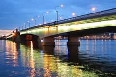 Alexander Nevsky Bridge at night Stock Image