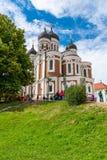 Alexander Nevsky Cathedral, één van de toeristische attracties in Tallinn stock fotografie