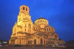 Alexander Nevsky Cathedral in der blauen Stunde stockbilder