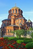 Alexander Nevsky Cathedral en Novosibirsk, Rusia imágenes de archivo libres de regalías