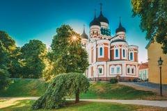 Alexander Nevsky Cathedral en ortodox domkyrkakyrka i Tallinn den gamla staden Arkivfoto