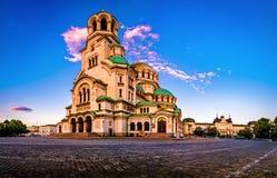 Alexander Nevsky Cathedral i Sofia Bulgaria fotografering för bildbyråer