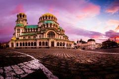 Alexander Nevsky Cathedral i Sofia Bulgaria royaltyfria foton