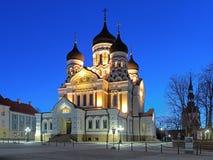 Alexander Nevsky Cathedral i Tallinn i otta, Estland Arkivbild