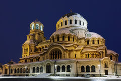 Alexander Nevsky Cathedral lit with yellow light, Sofia. Bulgaria royalty free stock photos