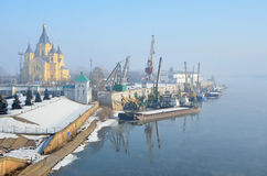 Alexander Nevsky Cathedral and marina in Nizhny Novgorod Royalty Free Stock Photo