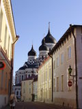 Alexander Nevsky Cathedral. Narrow streets of Old Tallinn Stock Images
