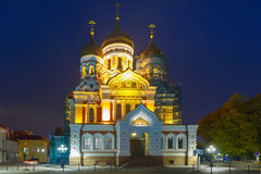 Alexander Nevsky Cathedral at night in Tallinn Stock Image