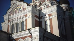 Alexander Nevsky Cathedral is an orthodox cathedral in Tallinn Old Town, Estonia. It was built to design by Mikhail. Preobrazhensky in a typical Russian Revival stock footage