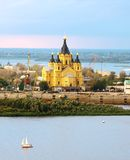 Alexander Nevsky Cathedral and sailboat on confluence rivers Stock Image