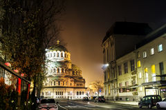 Alexander Nevsky cathedral in Sofia,Bulgaria by night Stock Photos