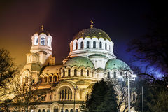 Alexander Nevsky cathedral in Sofia,Bulgaria by night Stock Photo