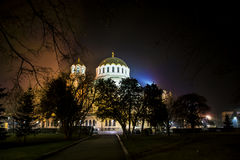 Alexander Nevsky cathedral in Sofia,Bulgaria by night Royalty Free Stock Photography