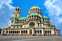 Alexander Nevsky cathedral and square in Sofia, Bulgaria Stock Photography