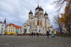 Alexander Nevsky Cathedral in Tallinn, Estland stock foto's