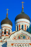 Alexander Nevsky Cathedral and Tallinn street Stock Images