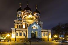 Alexander Nevsky Cathedral vid natt, ortodox domkyrka i Tallinn den gamla staden, Estland royaltyfria bilder