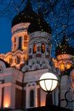 Alexander Nevsky Cathedral y árbol con las luces de la Navidad Foto de archivo