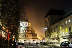 Alexander Nevsky-kathedraal in Sofia, 's nachts Bulgarije Stock Foto's