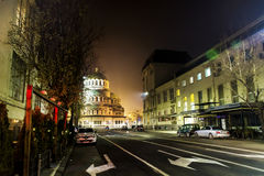 Alexander Nevsky-kathedraal in Sofia, 's nachts Bulgarije Stock Afbeelding