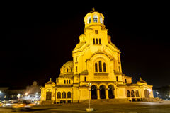Alexander Nevsky-kathedraal in Sofia, 's nachts Bulgarije Royalty-vrije Stock Foto's