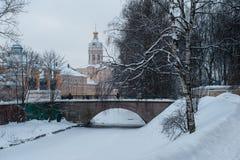 Alexander Nevsky Lavra en invierno foto de archivo libre de regalías