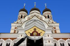 Alexander Nevsky Orthodox Cathedral en Tallinn bajo magnificar Imagen de archivo