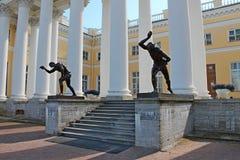 Statues of young men. Alexander Palace. Pushkin City. stock image