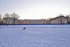 Alexander Palace-restauratie in de winter Pushkin, Tsarskoye Selo, Royalty-vrije Stock Foto