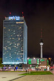 Alexander Platz & TV Tower at Night Royalty Free Stock Images