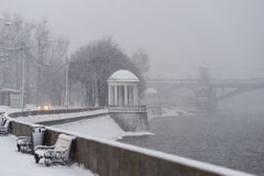 Alexander Pushkin embankment of Moscow Gorky Park Stock Photos