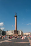 Alexander's Column at Dvortsovaya square in Saint Petersburg, Ru Stock Photography
