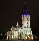 Alexander's Lutheran church in Narva, Estonia (2). Alexander's  Lutheran church in Narva (1881-1884, architect Otto Pius Gippius), Estonia, night view (2 Stock Image