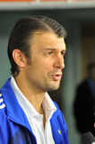 Alexander Shovkovskiy give an interview Royalty Free Stock Image