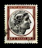 alexander stor grekisk stämpel Arkivfoto