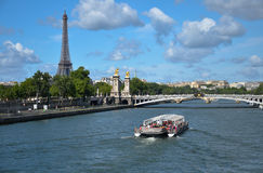 Alexander the third bridge and the Bateaux Mouches in paris, fra Stock Photo