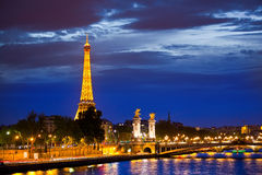 Alexander the Third bridge is popular touristic site in Paris. Royalty Free Stock Photos
