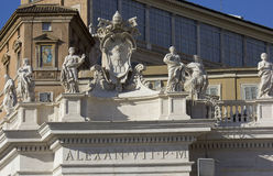 Alexander VII monument on the top of St.Peters Basilica Royalty Free Stock Photography