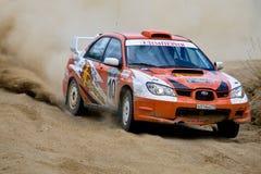 Alexander Volkov auf Subaru Impreza Stockbild