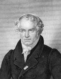 Alexander von Humboldt. (1769-1859) on engraving from 1859. Prussian geographer, naturalist and explorer. Engraved by F.Scober and published in Meyers Royalty Free Stock Images