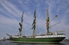 The Alexander von Humboldt cruising under the blue sky. Port Ijhaven, Amsterdam, the Netherlands - August 23, 2015: The Alexander von Humboldt tall ship (Germany Stock Images