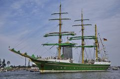 The Alexander von Humboldt en route from Amsterdam. Port Ijhaven, Amsterdam, the Netherlands - August 23, 2015: The Alexander von Humboldt tall ship (Germany) on Stock Photo