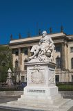 Alexander von Humboldt statue. Statue of Alexander von Humboldt in front of the Humboldt University, Berlin, Germany Royalty Free Stock Photos