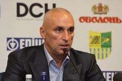 Alexander Yaroslavsky at press conference Royalty Free Stock Image